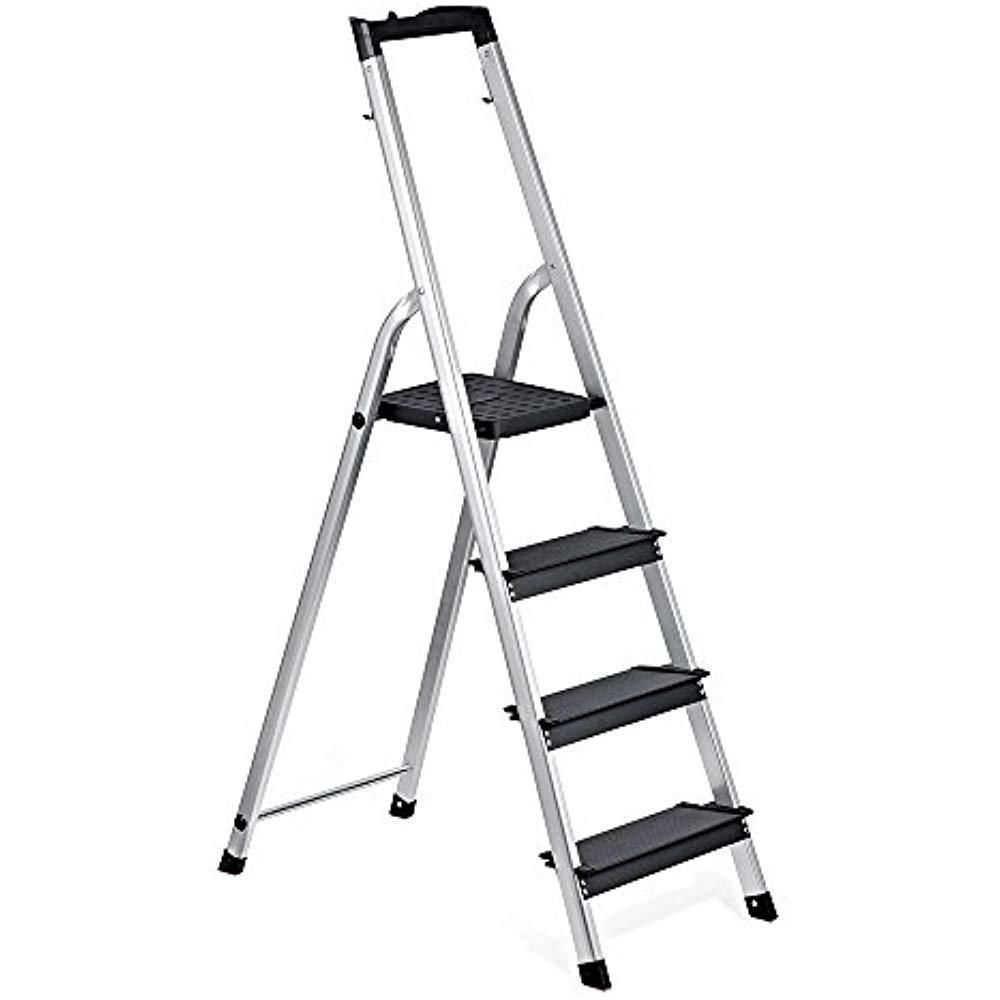 Delxo Lightweight Aluminum 4 Step Ladder With Tool Tray Folding