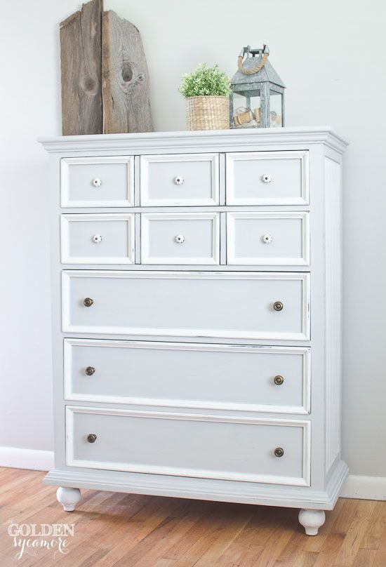 Gray And White Cottage Style Tall Painted Dresser