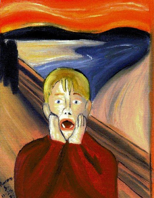 home alone parody oil painting to quotthe screamquot artwork