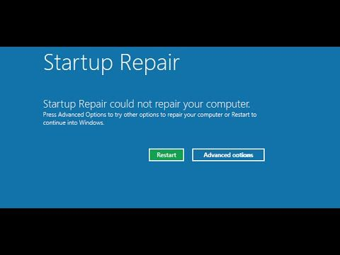 windows 10 startup repair not working