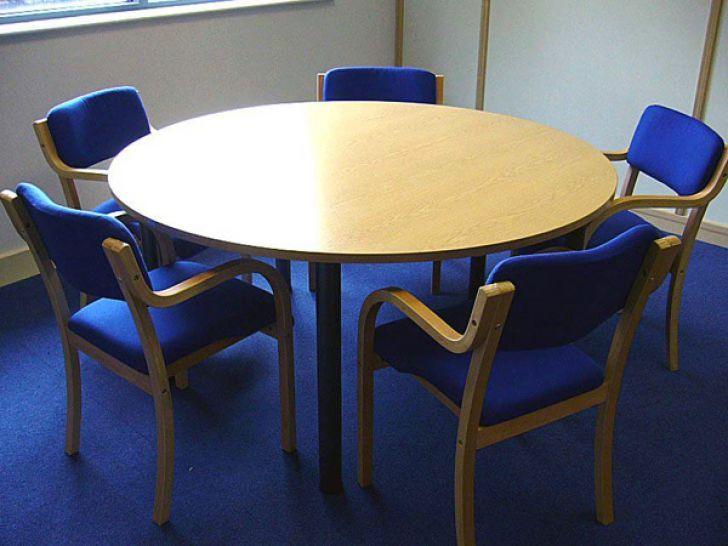 Wooden Round Office Table With Blue Chairs Round Office Table Office Table Used Office Furniture
