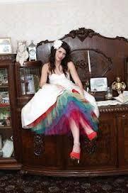 Rainbow Wedding Dress Tea Length Wedding Dress Rainbow Wedding Dress Tulle Wedding Dress