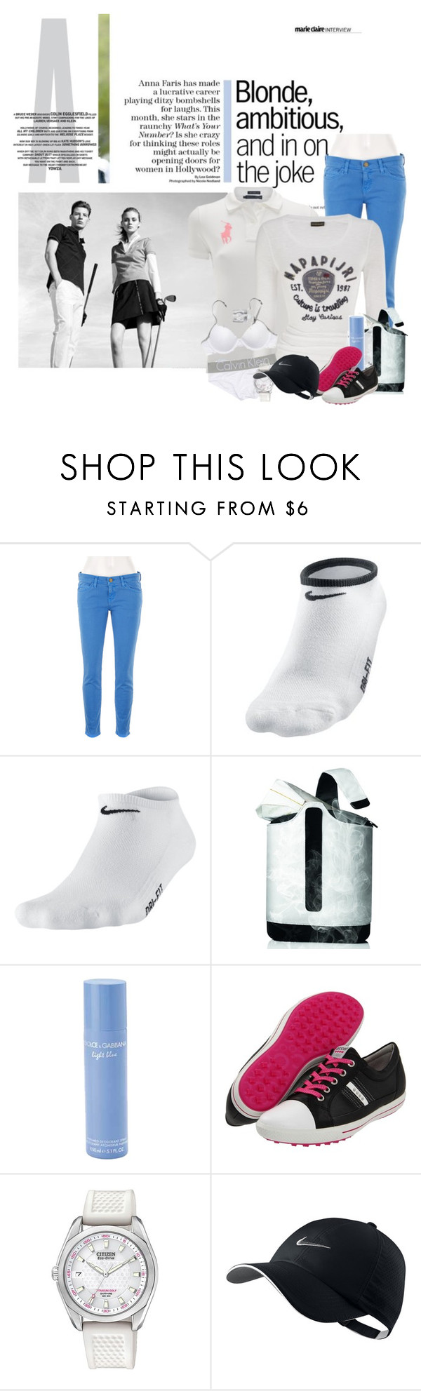 """""""Let's golf!"""" by lady-ju ❤ liked on Polyvore featuring Current/Elliott, Burberry, Polo Ralph Lauren, Napapijri, Calvin Klein, NIKE, Menu, Dolce&Gabbana, ECCO and Citizen"""