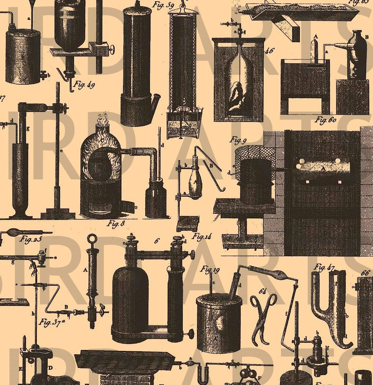 Digital Collage Sheet Vintage Laboratory Equipment No