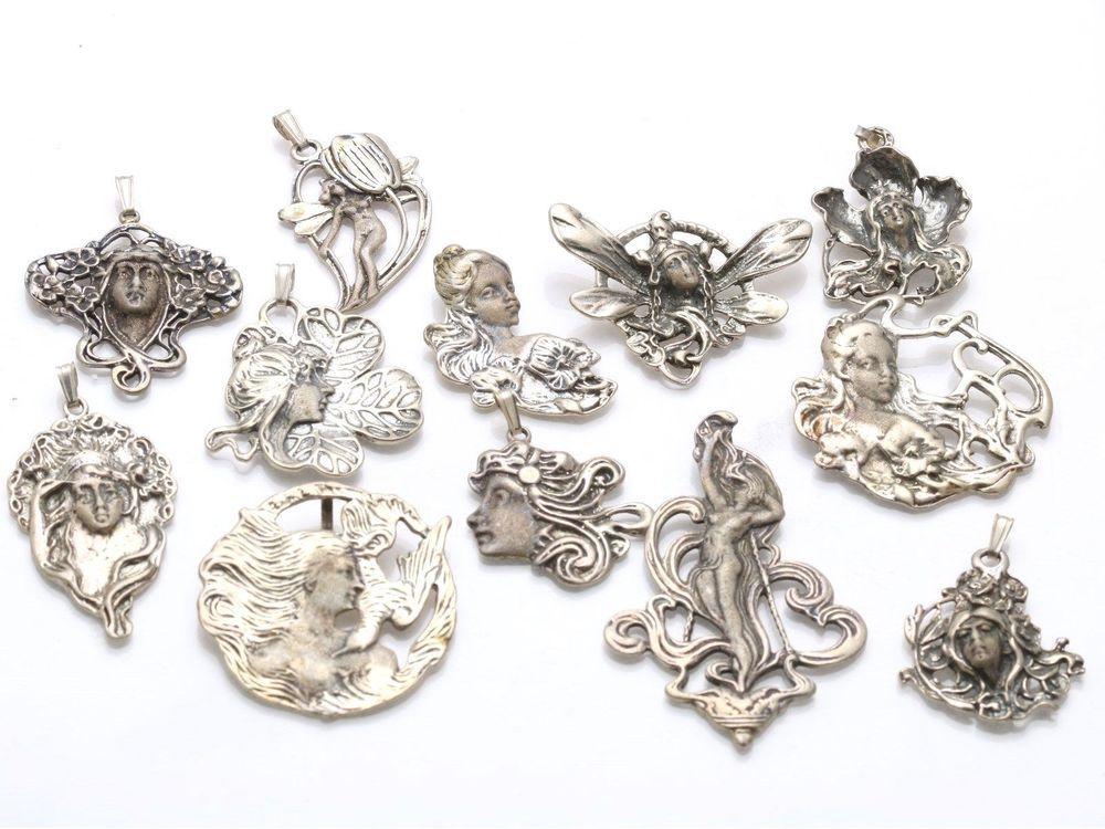 12 vintage art nouveau pendant charms wholesale lot 925 sterling 12 vintage art nouveau pendant charms wholesale lot 925 sterling silver fairy aloadofball Gallery