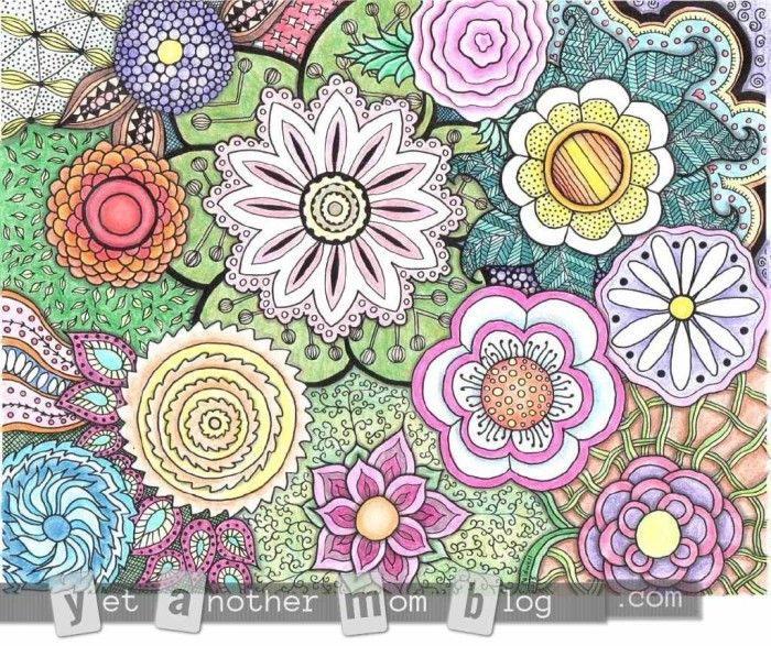 More Coloring Pages for Adults Zentangle Flowers Adult coloring