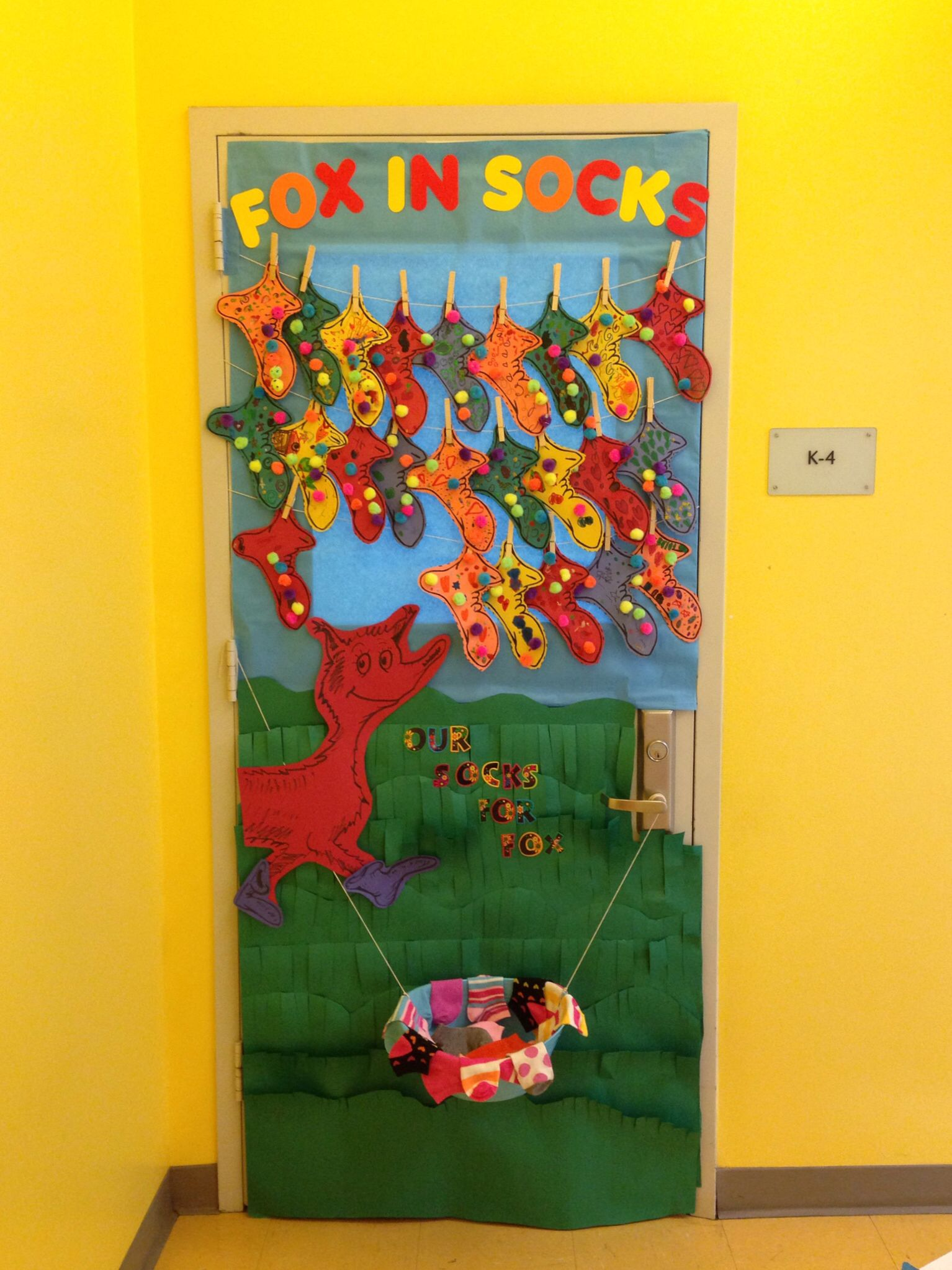 Fox in socks door decor door decorations teaching