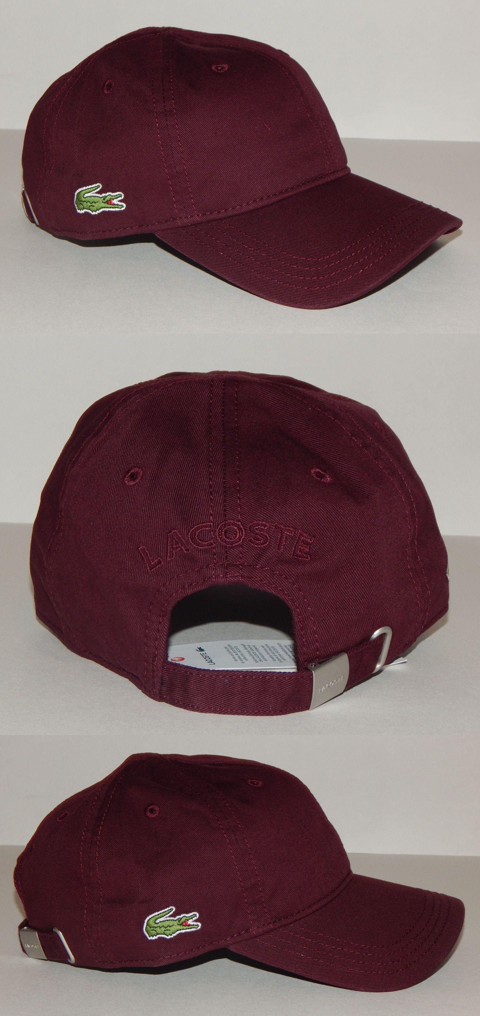 5a5dc34e14f Hats 52365  Lacoste Classic Croc Adjustable Gabardine Baseball Tennis Hat  Cap Burgundy -  BUY IT NOW ONLY   33.99 on eBay!