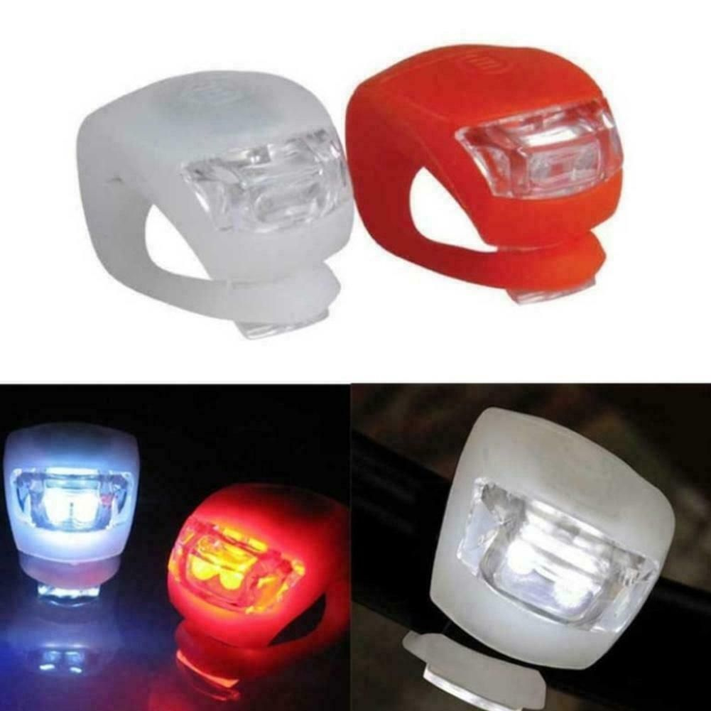 Silicone Bicycle Bike Cycle Safety LED Head Front /& Rear Tail Light