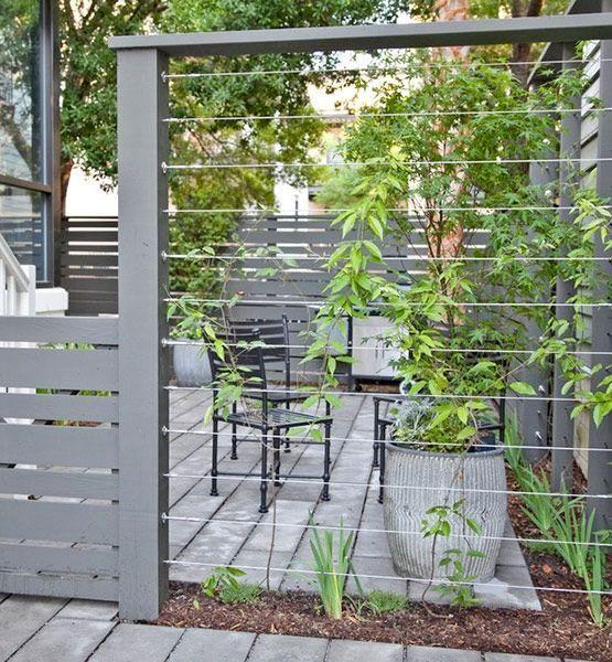 Vägg och spaljé med ram i trä och vajrar pergolagångar, växtstöd, plank och staket Pinterest