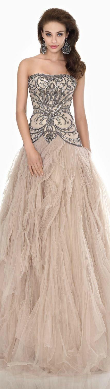 Beaded Lycra Tulle Gown by Tarik Ediz