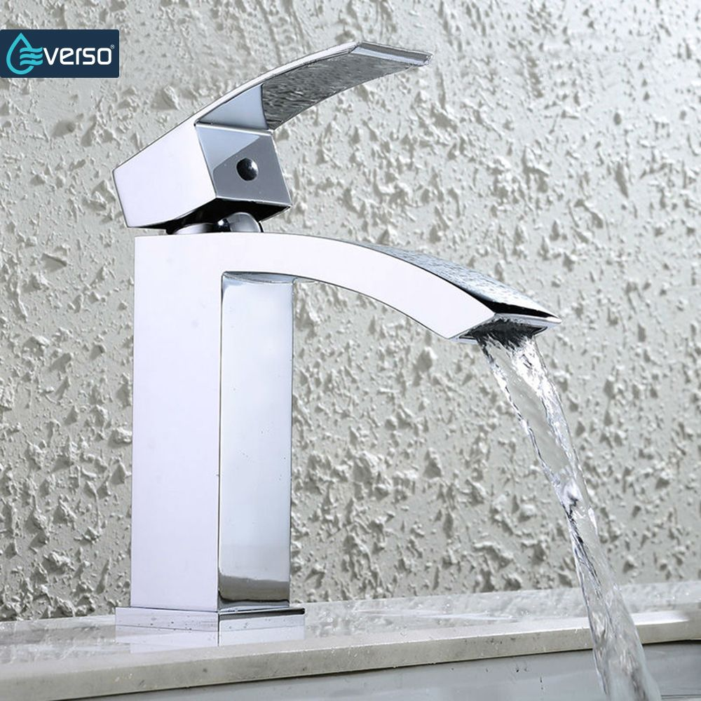 Everso Bathroom Sink Faucet Waterfall Bathroom Faucet Basin Faucet Vanity Vessel Mi Bathroom Sink Faucets Waterfall Bathroom Faucets Waterfall Waterfall Faucet