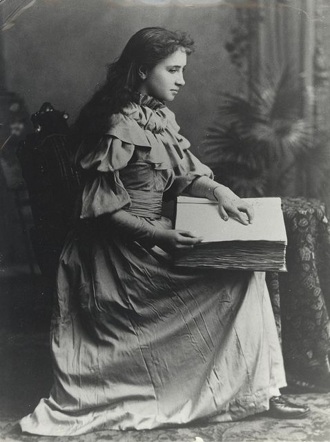 Portrait Of Helen Keller Reading An Embossed Book With Images