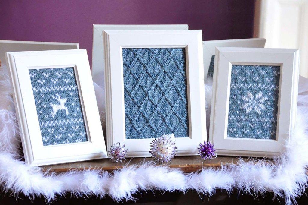 Crochet wall art & fair isle flurries framed knitted wall art holiday knitting pattern ...