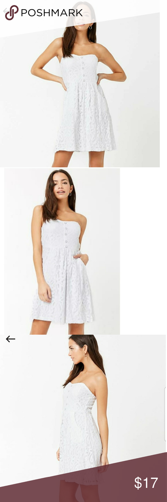ea7b9cc592b White Lace Mini Tube Dress A knit tube dress featuring embroidered lace  design