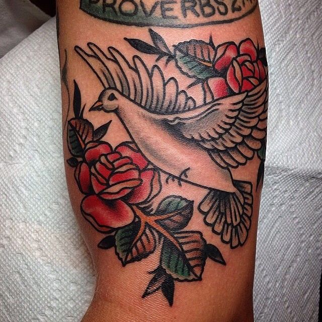367349847 Traditional Dove and Roses by Tony Talbert at Golden Monkey Tattoo in  Fredericksburg, Virginia. - Imgur