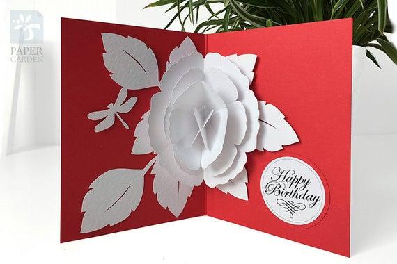 Papercut Template Pop Up Card Rose Instant Download Svg Etsy In 2021 Pop Up Card Templates Pop Up Cards Pop Up Flower Cards