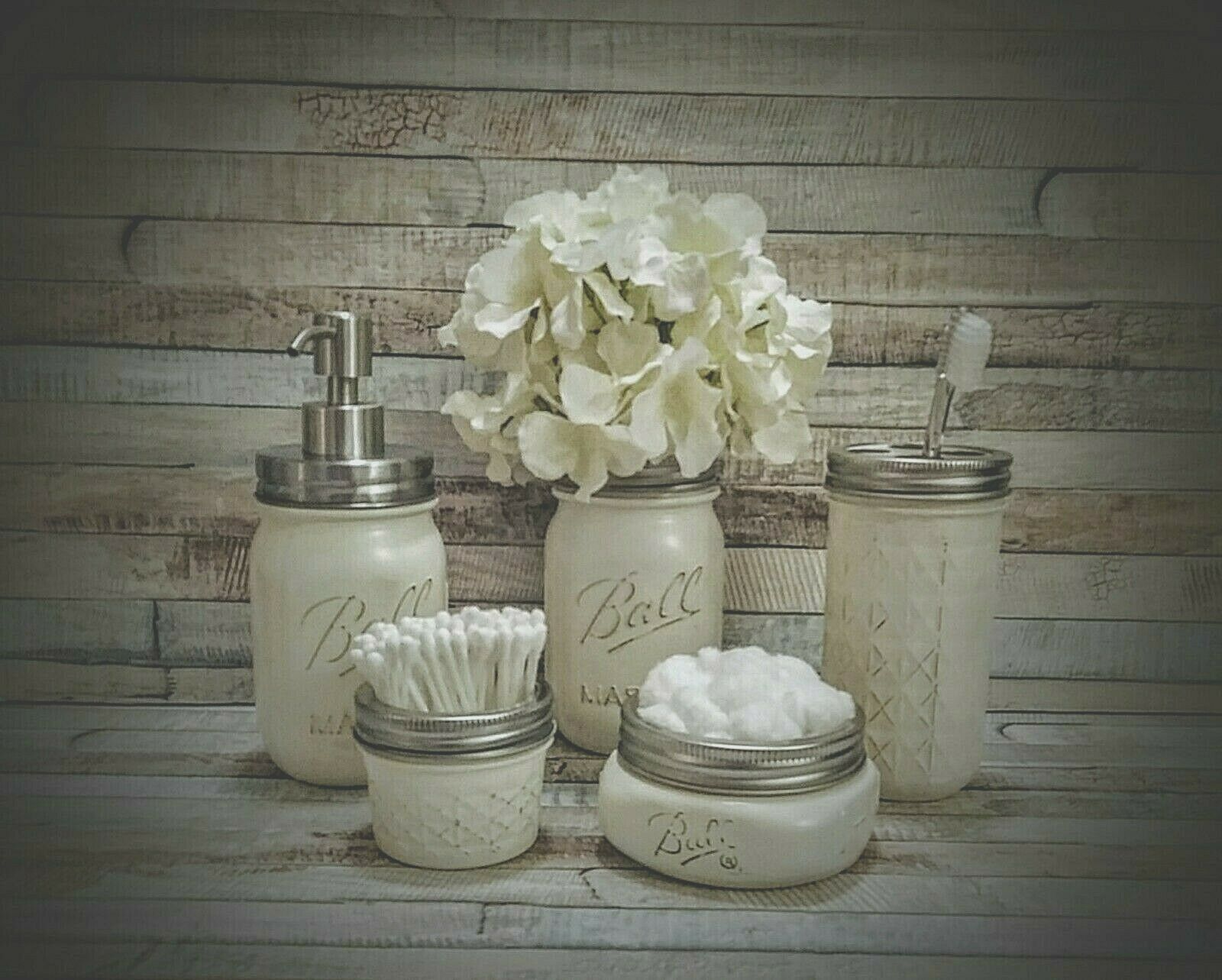 5 PIECE RUSTIC MASON JAR BATHROOM SET