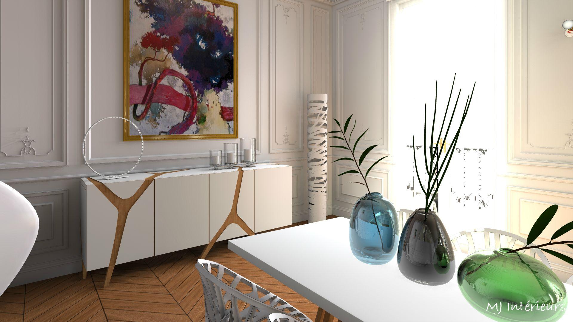 Détail salle  manger design dans appartement haussmannien Buffet