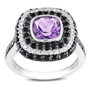 Sterling Silver 2 7/8 CT TGW multi-gemstone 1/5 CT TDW Diamond fashion ring (G-H, I2-I3) Amour. $132.99