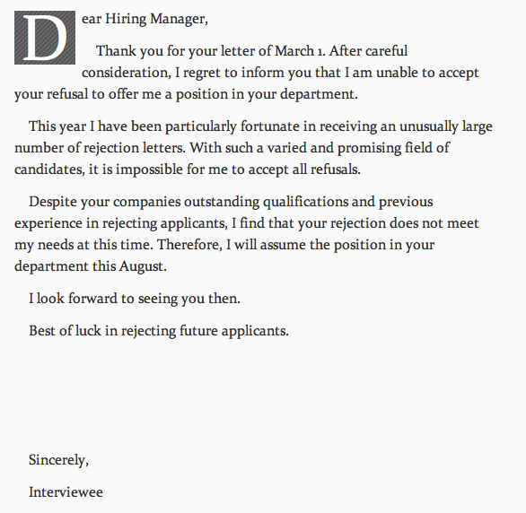 Rejection Letter Rejection Letter  Humor Laughter And Hilarious