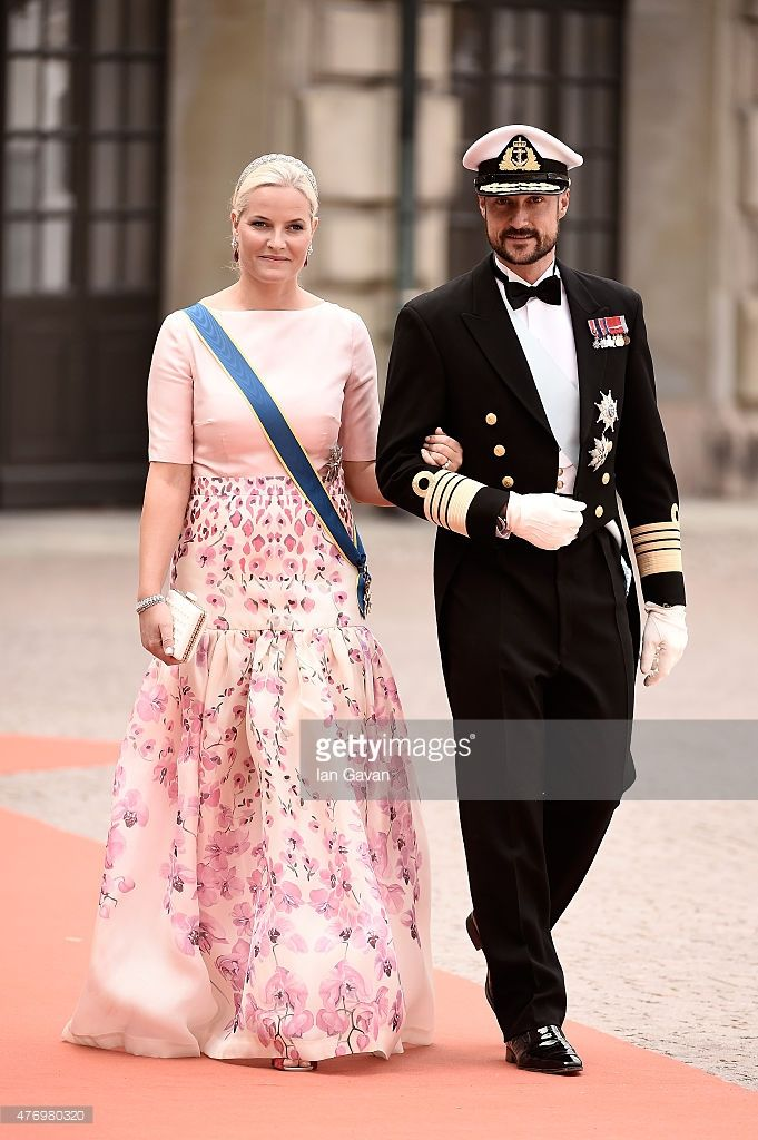 Crown Princess Mette-Marit of Norway and husband Crown Prince Haakon of Norway attend the royal wedding of Prince Carl Philip of Sweden and Sofia Hellqvist at The Royal Palace on June 13, 2015 in Stockholm, Sweden.  (Photo by Ian Gavan/Getty Images)