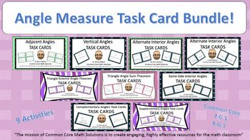 Angle Measures - Task Card Bundle! (Includes 9 Activities)