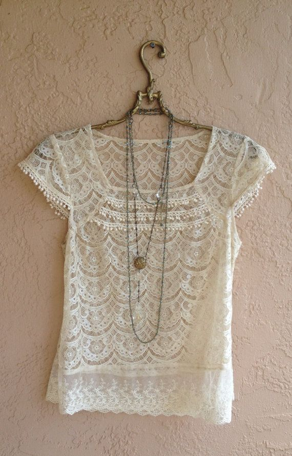 bb968c8028b Great Top and necklace combo. Romantic Lace Blouse with ruffle details