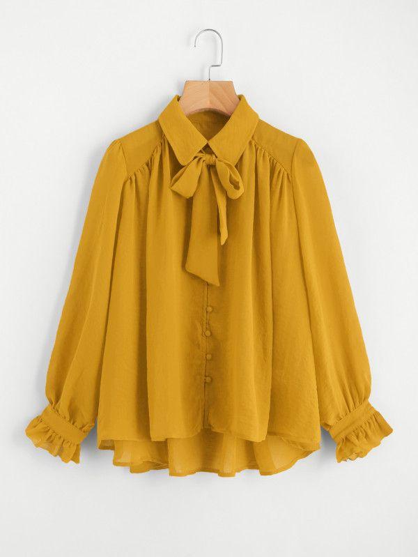 f6bae106 Bow Tie Neck Dip Hem Frill Blouse -SheIn(Sheinside) | Women clothing ...