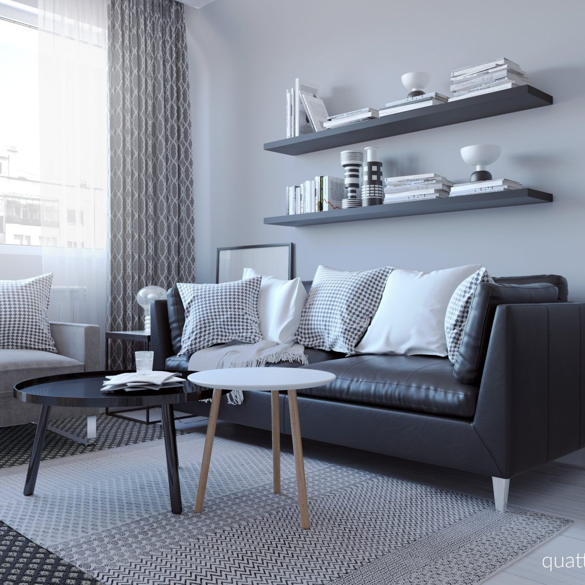 From deciding on a color palette to updating your furniture, follow these 5 steps to help you update your living room. Скандинавски полъх   Black sofa living room, Black sofa ...