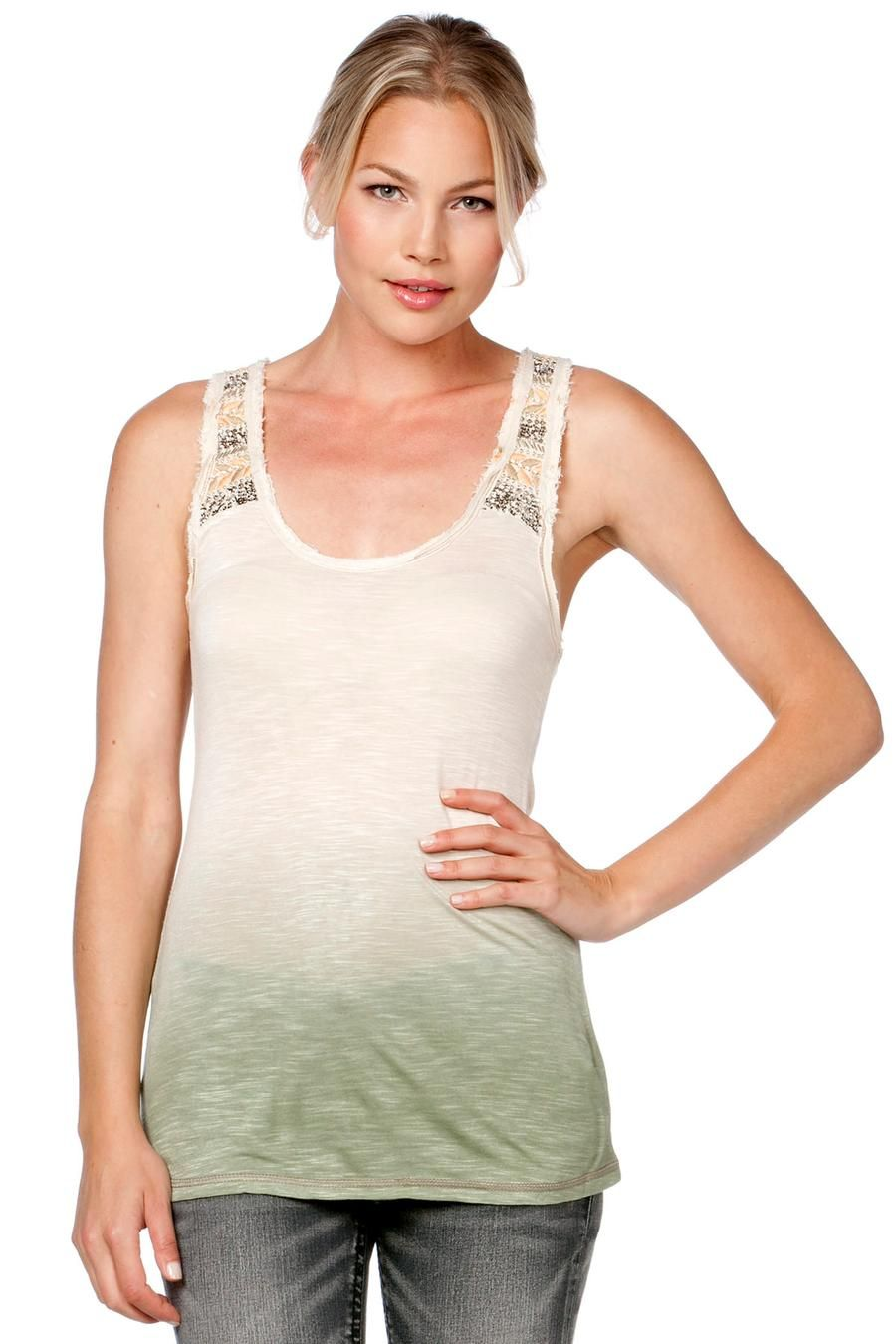 Cream Dip Dye Tank by missme
