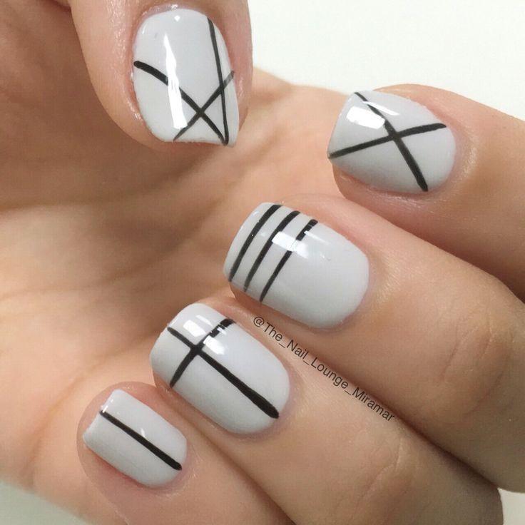 Geometric lines nail art design Nail Design, Nail Art, Nail Salon, Irvine, - 8 Subtle (and Oh-So Simple!) Nail Art Designs White Nails