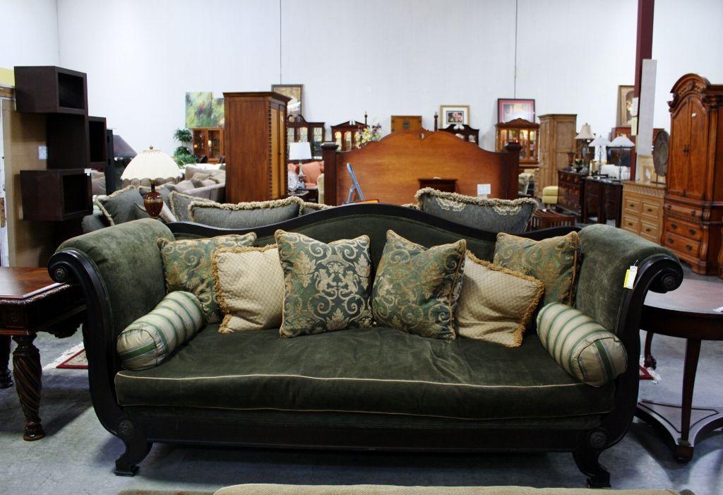 Lillian August Green Velvet Sofa 20124 1 Consignment Northwest