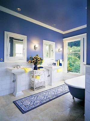 Tales From A Vintage Wardrobe Yellow Bathrooms Blue Bathroom Royal Blue Bathrooms