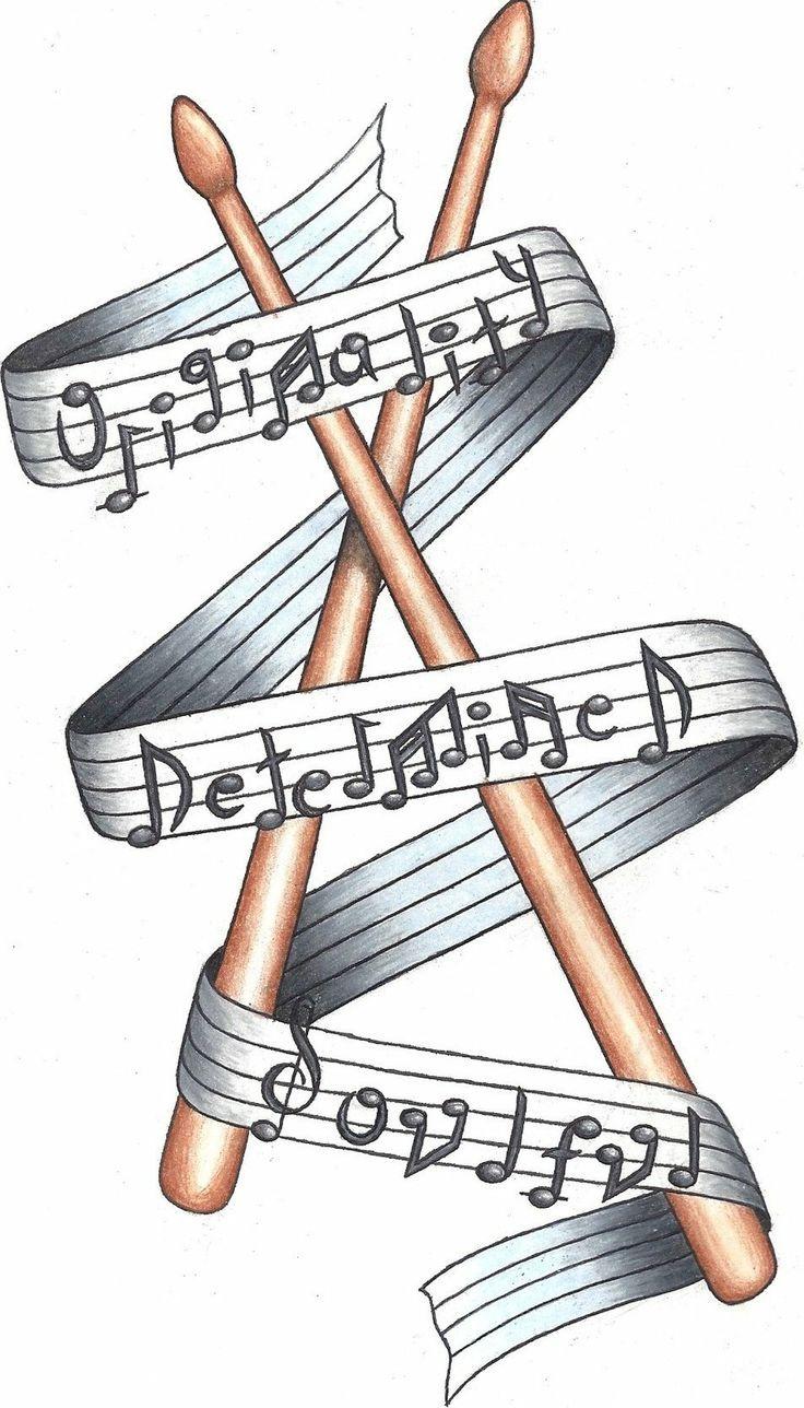 Music Notes Around Drum Sticks