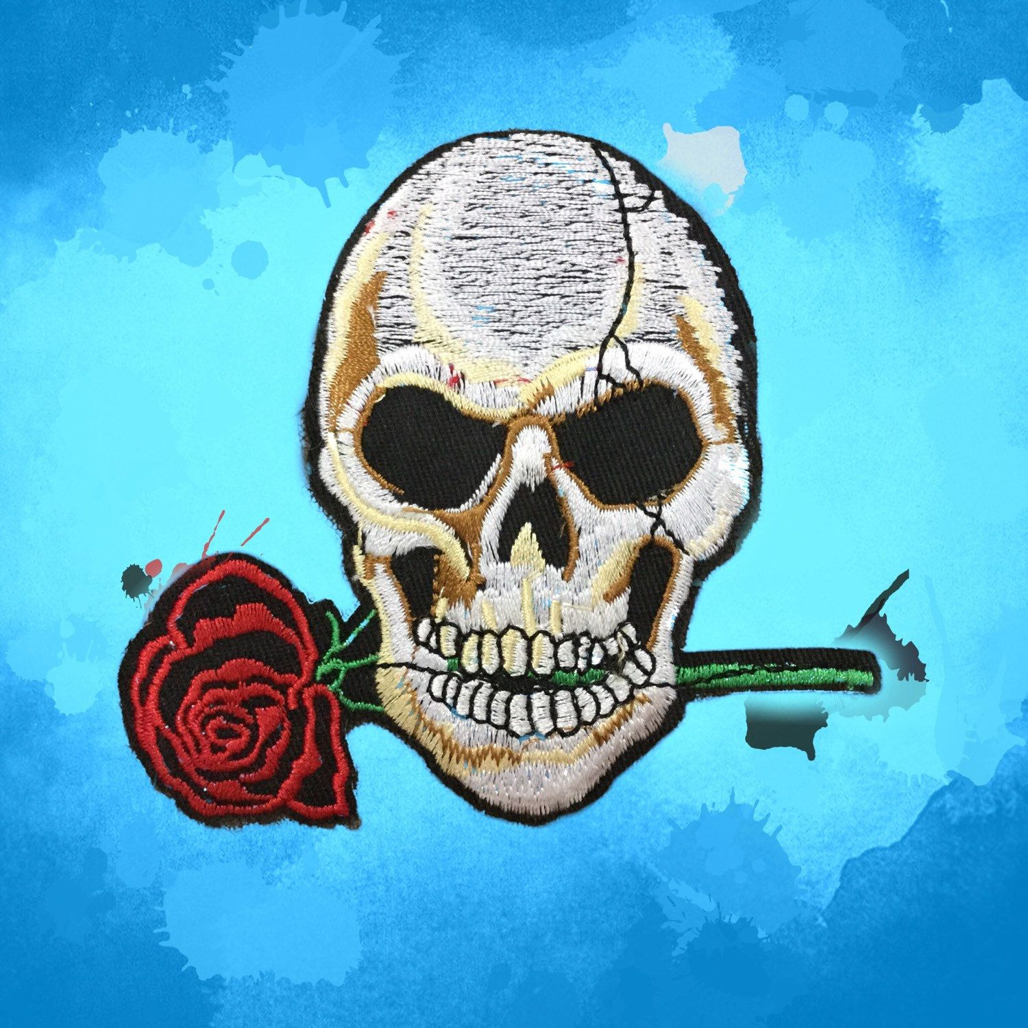 Skull Rose Patches iron on patches Ironon Badge Tattoo