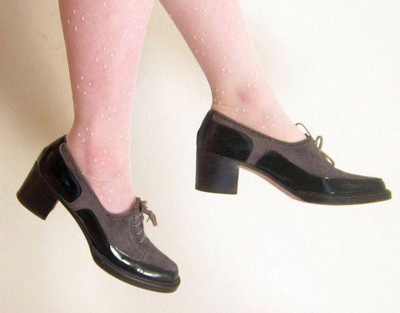 c3c2227e72419 Vintage 1960s Designer Shoes Grey Suede Black Patent Leather / Yves ...