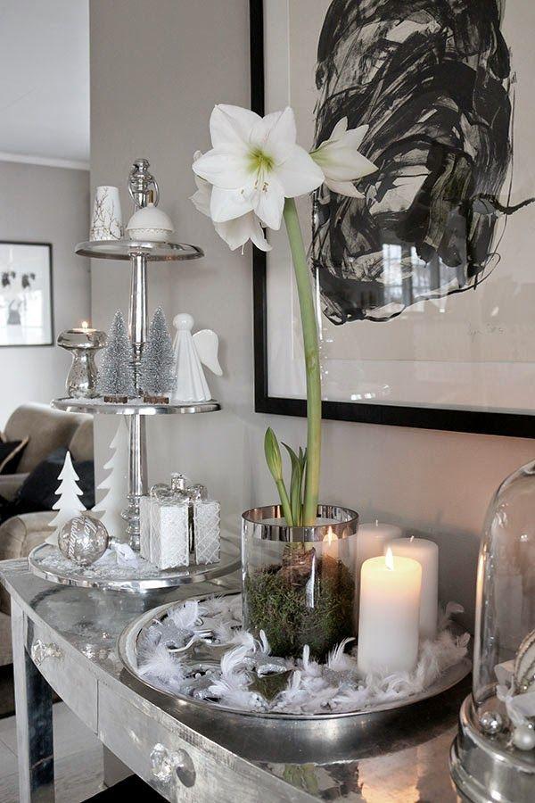 weihnachtsdekoration in wei schwarz und silber. Black Bedroom Furniture Sets. Home Design Ideas