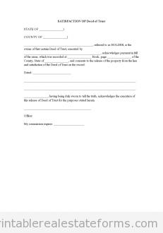 Sample Deed Of Trust Form   Sample Printable Satisfaction Of Deed Of Trust Form Printable Real