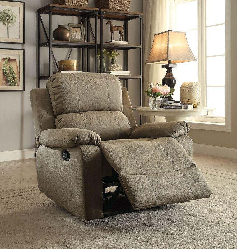 Acme 59527 bina taupe polished microfiber fabric recliner