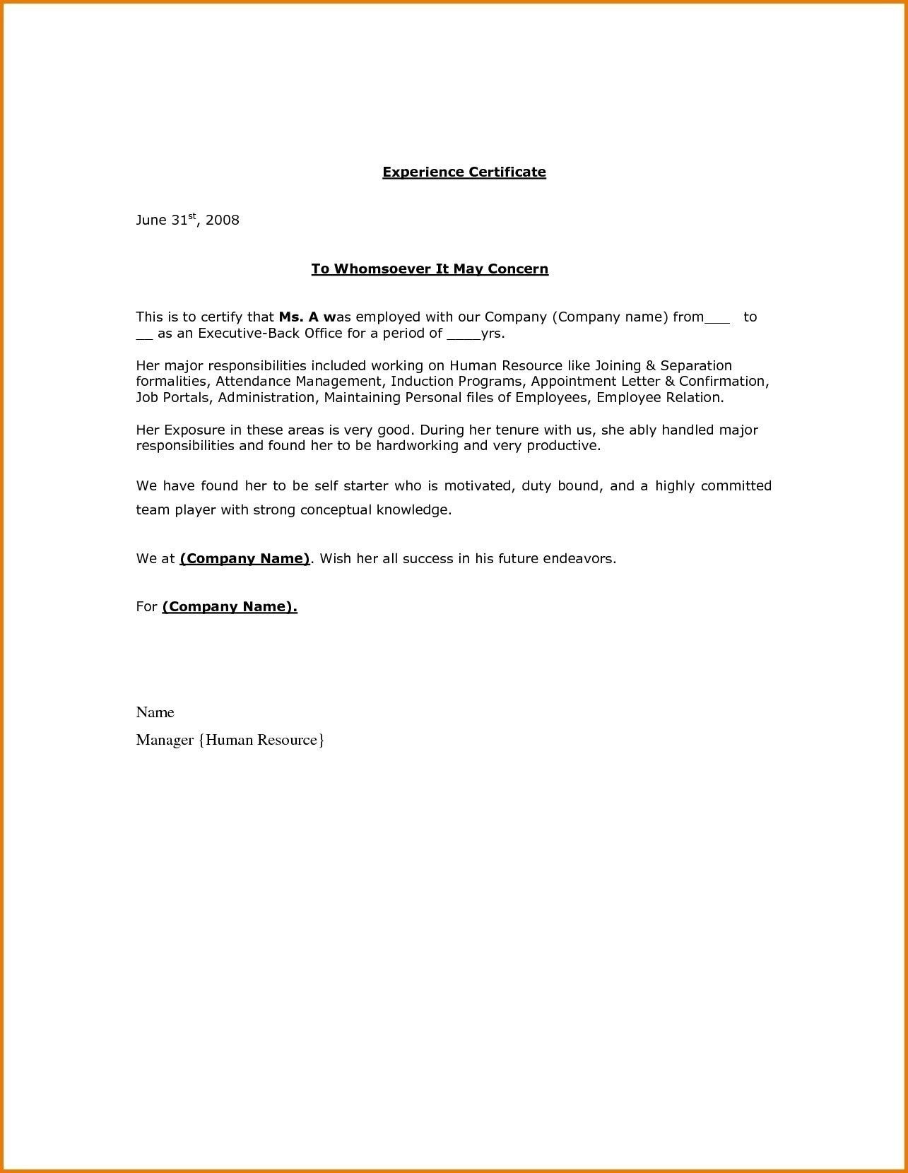 relieving letter format doc fresh certificate