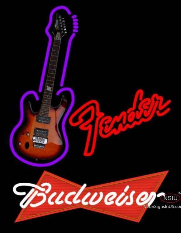 Budweiser Red Red Fender Guitar Handmade Art Neon Sign #fenderguitars