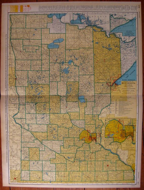 Rare MINNESOTA Map of Minnesota with Railroads by plaindealing