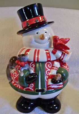 2007 Holiday Christmas Frosty Snowman Squirrel Cardinal Cookie Jar Harry David