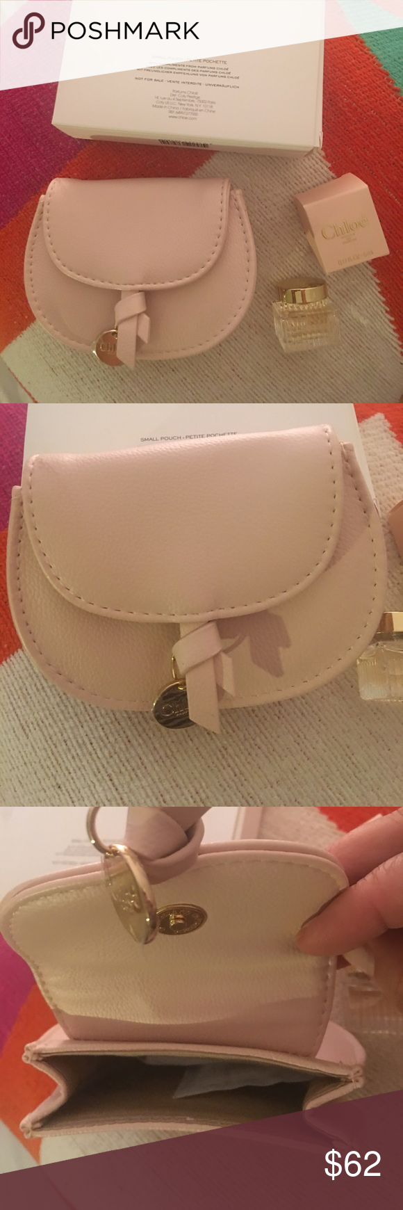 CHLOE SMALL POUCH WITH PARFUM CHLOE SMALL PETITE POUCHETTE. Received as a  gift with my purchase VIP Client.COMES WITH BOX (pouch and perfume) Chloe  Bags ... ce6e6534649ea