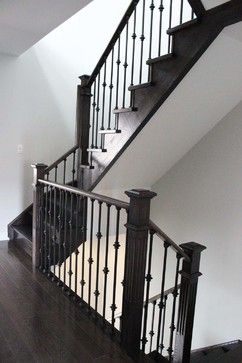 Best Dark Oak Staircase With Wrought Iron Pickets And Square Posts Staircase Remodel Wrought Iron 640 x 480