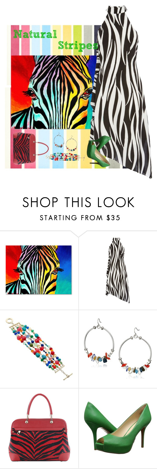 """Natural Stripes"" by kbarkstyle ❤ liked on Polyvore featuring Trademark Fine Art, Karen Millen, Lauren Ralph Lauren, Kenneth Cole, SWG and Nine West"