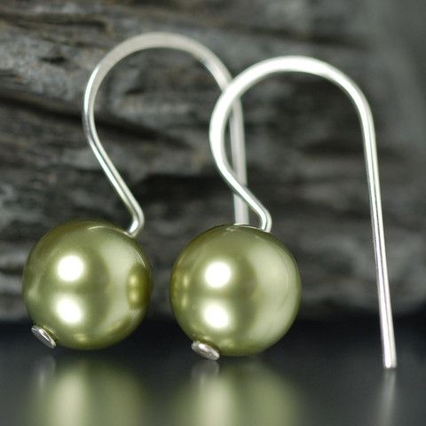 Linden Green Swarovski pearl earrings | South Paw Studios Handcrafted Designer Jewelry