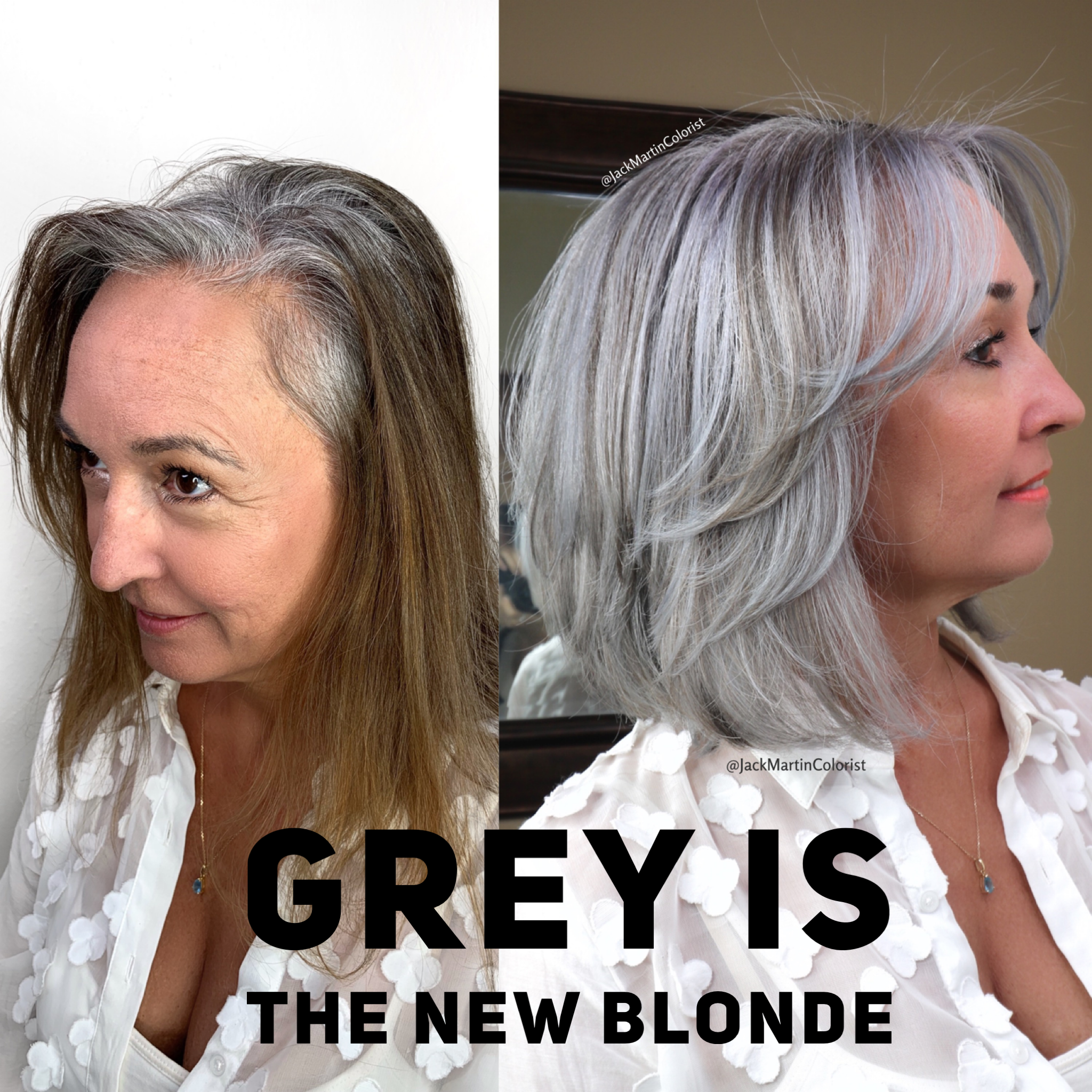 Grey Is The New Blonde Check Link Below About How To Free Yourself From Coloring Gray Hair Highlights Transition To Gray Hair Hair Styles