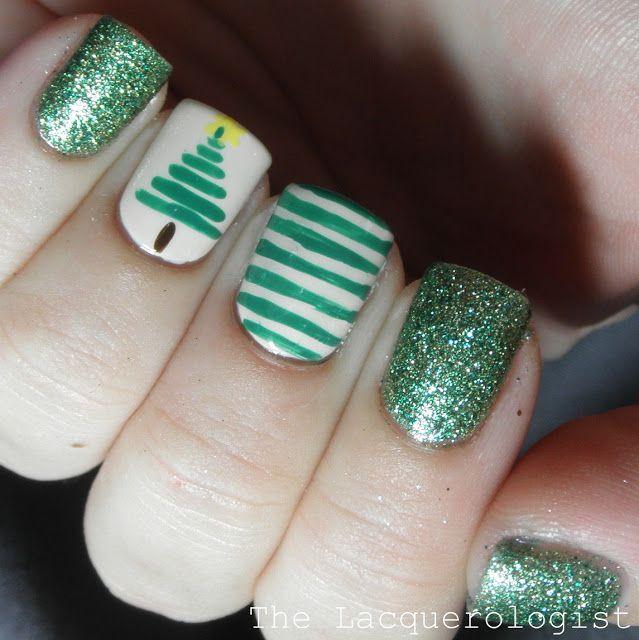 Christmas Nail Art 1 Stripe Christmas Tree Nails Beautyinthebag Nailart Holidaynails Green Nails Xmas Nails Christmas Nails